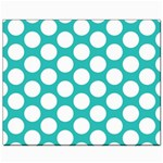 Turquoise Polkadot Pattern Canvas 8  x 10  (Unframed)