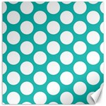 Turquoise Polkadot Pattern Canvas 20  x 20  (Unframed)