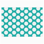 Turquoise Polkadot Pattern Glasses Cloth (Large)