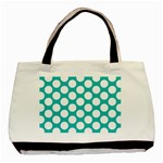 Turquoise Polkadot Pattern Twin-sided Black Tote Bag