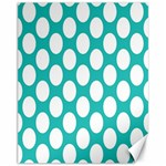 Turquoise Polkadot Pattern Canvas 11  x 14  (Unframed)