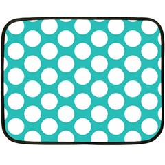 Turquoise Polkadot Pattern Mini Fleece Blanket (Two Sided) from ArtsNow.com 35 x27  Blanket Front