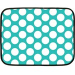 Turquoise Polkadot Pattern Mini Fleece Blanket (Two Sided) from ArtsNow.com 35 x27  Blanket Back