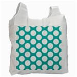 Turquoise Polkadot Pattern White Reusable Bag (Two Sides)