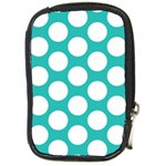 Turquoise Polkadot Pattern Compact Camera Leather Case