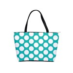 Turquoise Polkadot Pattern Large Shoulder Bag