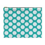 Turquoise Polkadot Pattern Cosmetic Bag (XL)