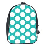 Turquoise Polkadot Pattern School Bag (Large)