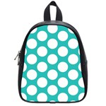 Turquoise Polkadot Pattern School Bag (Small)