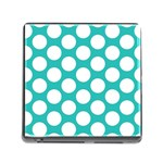Turquoise Polkadot Pattern Memory Card Reader with Storage (Square)