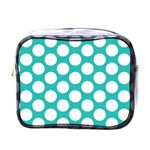 Turquoise Polkadot Pattern Mini Travel Toiletry Bag (One Side)