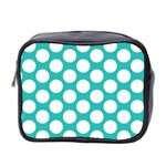 Turquoise Polkadot Pattern Mini Travel Toiletry Bag (Two Sides)