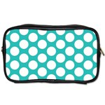 Turquoise Polkadot Pattern Travel Toiletry Bag (One Side)