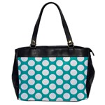 Turquoise Polkadot Pattern Oversize Office Handbag (One Side)