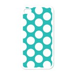 Turquoise Polkadot Pattern Apple iPhone 4 Case (White)