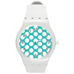 Turquoise Polkadot Pattern Plastic Sport Watch (Medium)