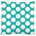 Turquoise Polkadot Pattern Large Cushion Case (Two Sided)