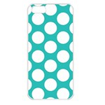 Turquoise Polkadot Pattern Apple iPhone 5 Seamless Case (White)