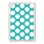Turquoise Polkadot Pattern Apple iPad Mini Case (White)