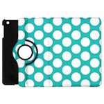 Turquoise Polkadot Pattern Apple iPad Mini Flip 360 Case