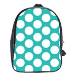 Turquoise Polkadot Pattern School Bag (XL)