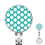 Turquoise Polkadot Pattern Stainless Steel Nurses Watch