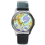 Golden Violet Sea Shells, Abstract Ocean Round Leather Watch (Silver Rim)