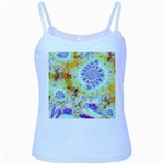 Golden Violet Sea Shells, Abstract Ocean Baby Blue Spaghetti Tank