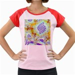 Golden Violet Sea Shells, Abstract Ocean Women s Cap Sleeve T-Shirt (Colored)