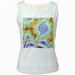 Golden Violet Sea Shells, Abstract Ocean Women s Tank Top (White)