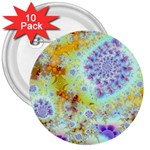 Golden Violet Sea Shells, Abstract Ocean 3  Button (10 pack)