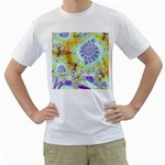 Golden Violet Sea Shells, Abstract Ocean Men s Two-sided T-shirt (White)