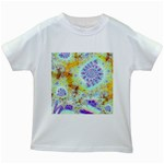 Golden Violet Sea Shells, Abstract Ocean Kids T-shirt (White)