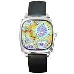 Golden Violet Sea Shells, Abstract Ocean Square Leather Watch