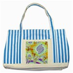 Golden Violet Sea Shells, Abstract Ocean Blue Striped Tote Bag