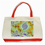 Golden Violet Sea Shells, Abstract Ocean Classic Tote Bag (Red)