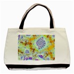 Golden Violet Sea Shells, Abstract Ocean Twin-sided Black Tote Bag