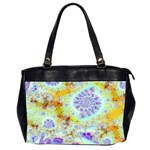 Golden Violet Sea Shells, Abstract Ocean Oversize Office Handbag (Two Sides)