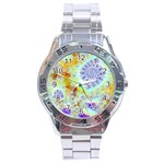 Golden Violet Sea Shells, Abstract Ocean Stainless Steel Watch