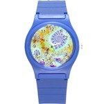 Golden Violet Sea Shells, Abstract Ocean Plastic Sport Watch (Small)