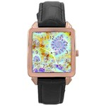 Golden Violet Sea Shells, Abstract Ocean Rose Gold Leather Watch