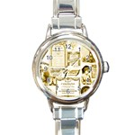 Parisgoldentower Round Italian Charm Watch