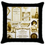 Parisgoldentower Black Throw Pillow Case