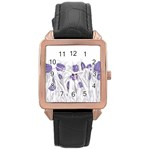 flowers1 Rose Gold Leather Watch