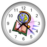 Globe and Book Wall Clock (Silver)