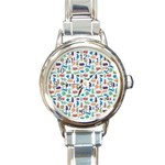 Blue Colorful Cats Silhouettes Pattern Round Italian Charm Watches
