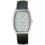 Blue Colorful Cats Silhouettes Pattern Barrel Metal Watches