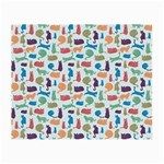 Blue Colorful Cats Silhouettes Pattern Small Glasses Cloth