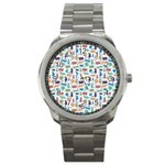 Blue Colorful Cats Silhouettes Pattern Sport Metal Watches