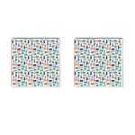 Blue Colorful Cats Silhouettes Pattern Cufflinks (Square)